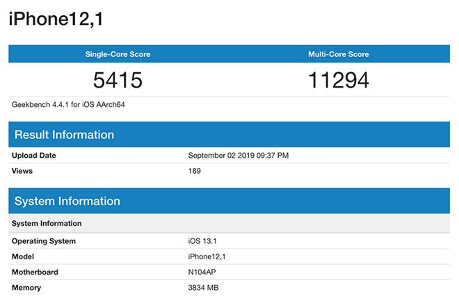 iPhone 11 lộ điểm hiệu năng, xác nhận RAM 4GB và chip xử lý 6 nhân 2.66Ghz - Ảnh 2.