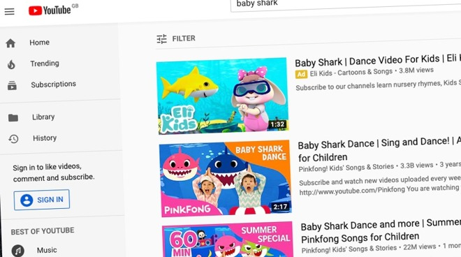 YouTube Baby Shark