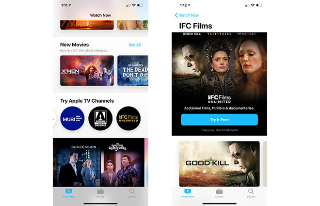 Apple TV Channels adds IFC Films Unlimited, goes live in