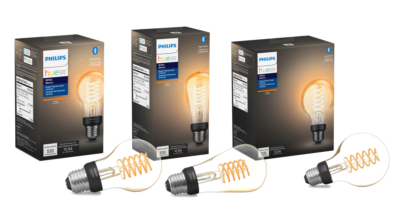 The Philips Hue filament range including bulb, tube, and globe shapes
