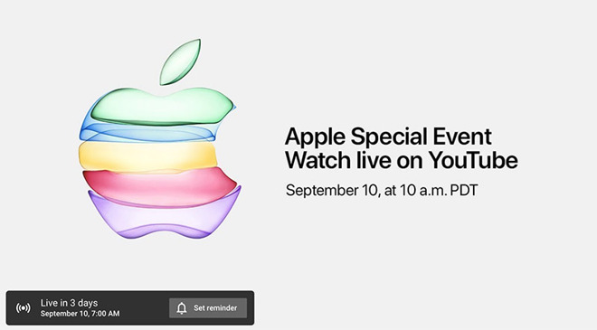 Apple to live-stream September special event on YouTube for