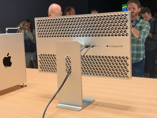 The rear of the Apple Pro Display XDR, with stand at WWDC 2019