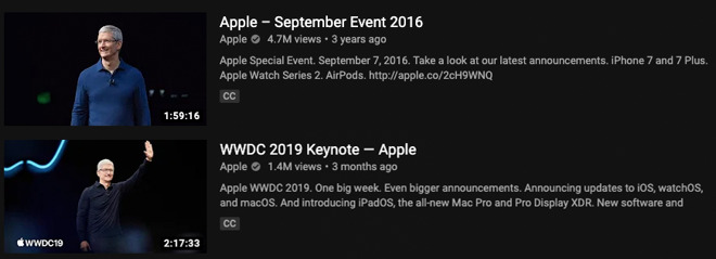 Apple Event upload views