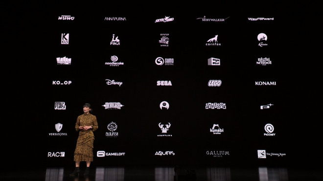 The company logo slide for Apple Arcade's announcement in March