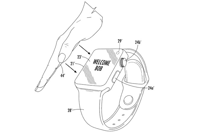Patent illustration showing user authenticating with palm on Apple Watch