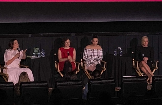 The Dickinson panel: Moderator Hillary Kelly, creator Alena Smith, and actresses Hailee Steinfeld and Jane Krakowski