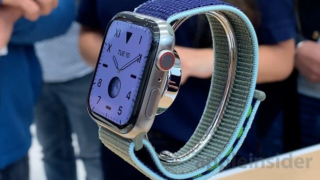 Silver titanium Apple Watch Series 5