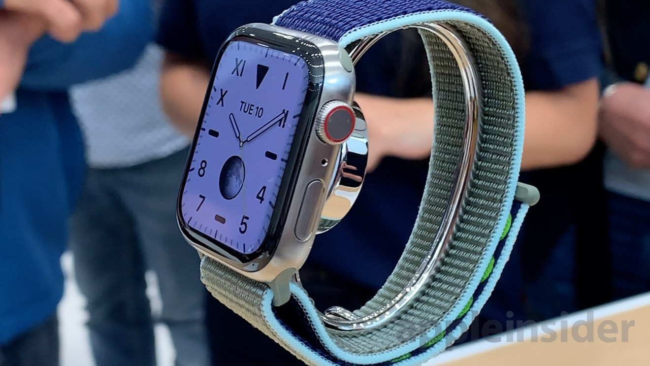 Silver titanium Apple Watch Series 5