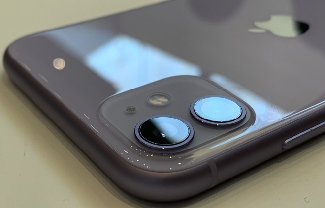 The two cameras on the back of the iPhone 11