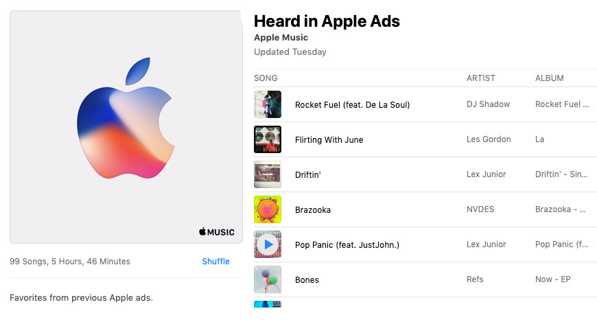 An Apple Music playlist lists most of the music used in its ads since 2008