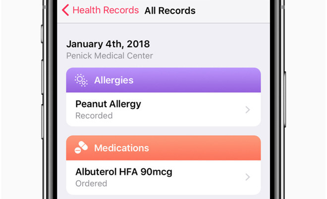 An example page from Apple's Health Records