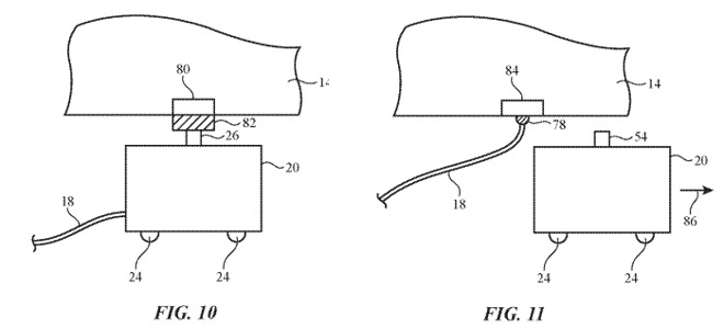 Examples of a contact-based charging and cord deposition system