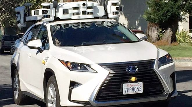 A Lexus fitted with an early Apple self-driving testbed