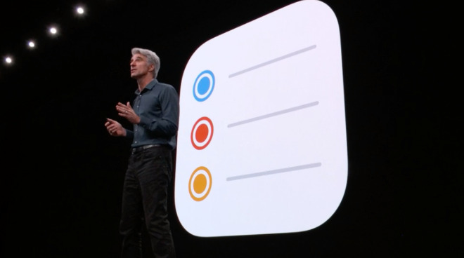 Craig Federighi introduces the new Reminders app at WWDC 2019