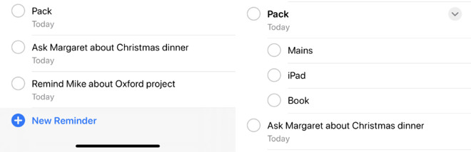 Left: the Today view where there is no way to tell you've go subtasks. Right: a project List view where it's clear.