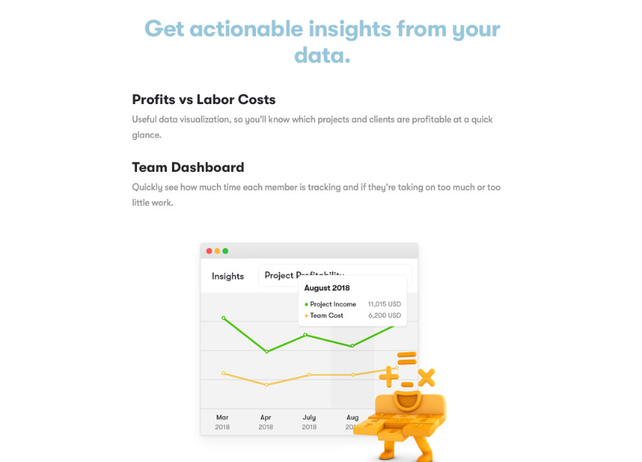 Toggl is an online service and iOS app for team tracking