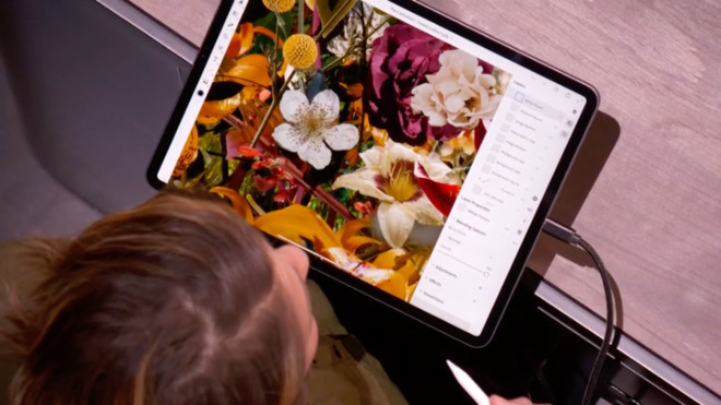 Adobe demonstrating Photoshop on the iPad Pro in October 2018