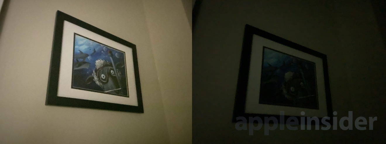 iPhone 11 Pro Night mode (left) and iPhone XS (right)
