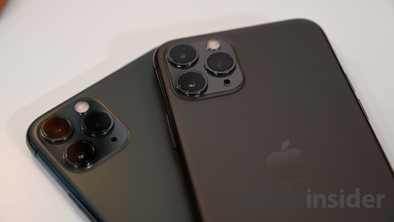 iPhone 11 Pro in Midnight Green and Space Gray sport three cameras