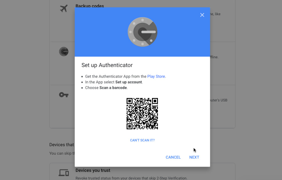 Scan this QR code with the Google Authenticator app on your new iPhone