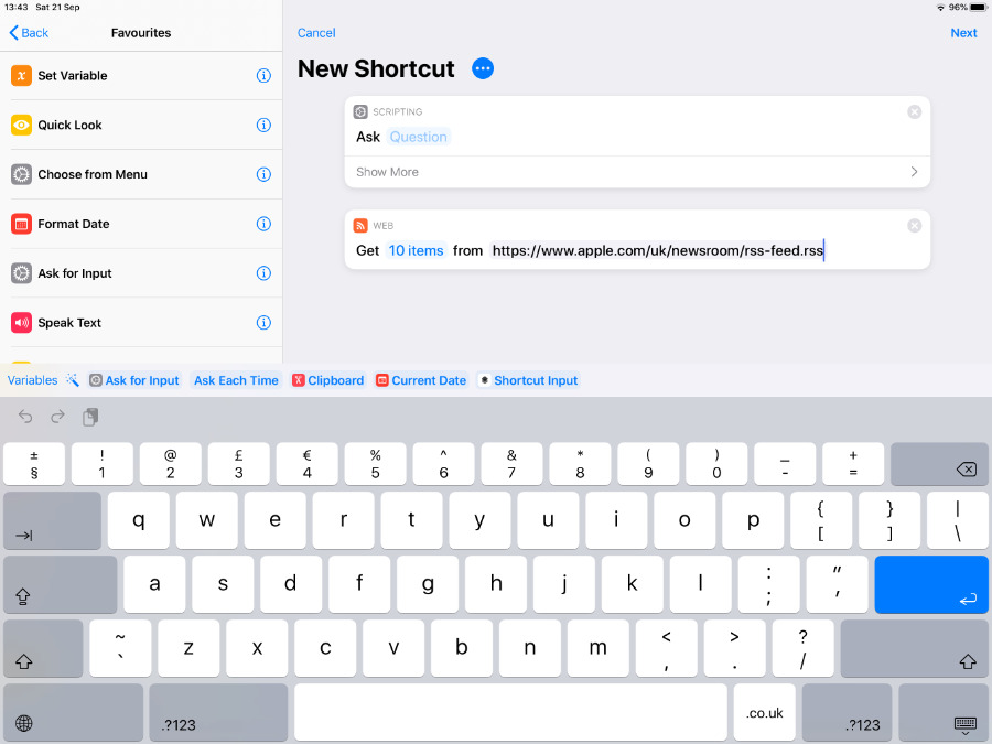 In Shortcuts, you drag actions from the list on the left, into the editor on the right. Aftechmobile calls these