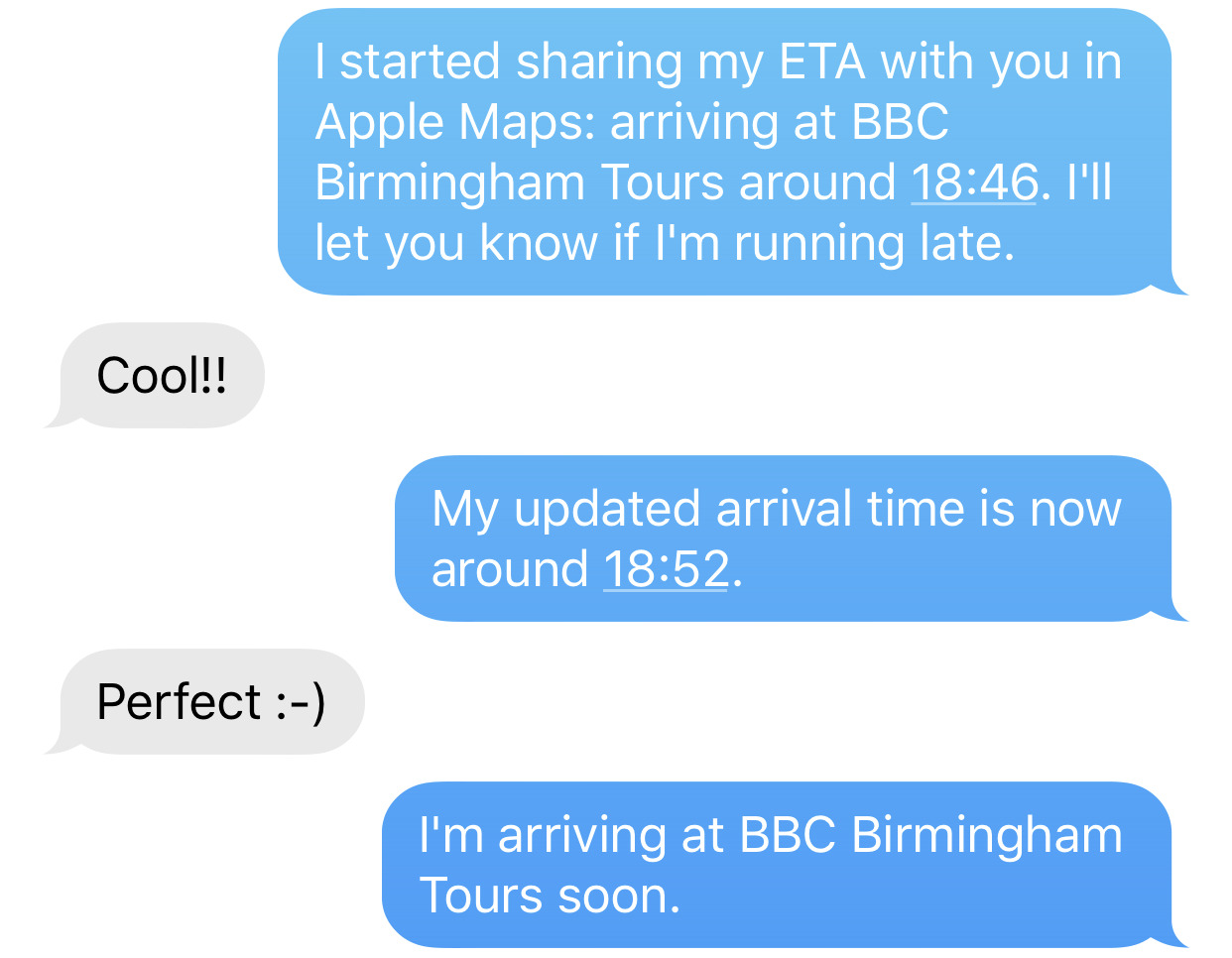 Each of the messages in blue bubbles was created and sent automatically by iOS 13.1's Share ETA function.