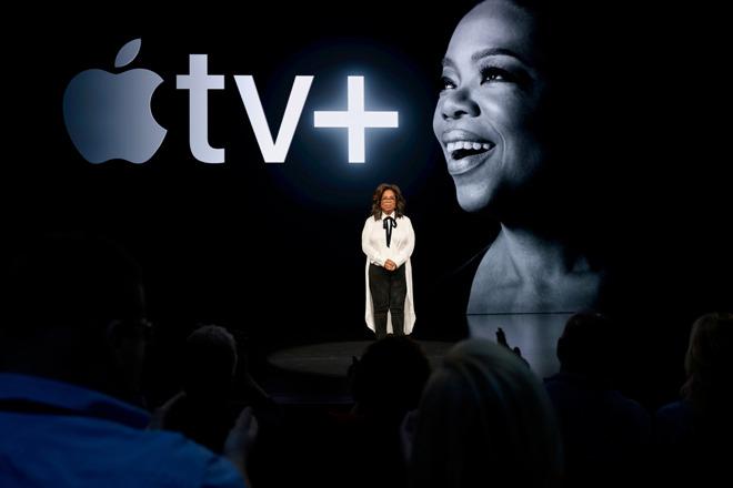 Oprah Winfrey announcing her Apple TV+ series earlier in 2019