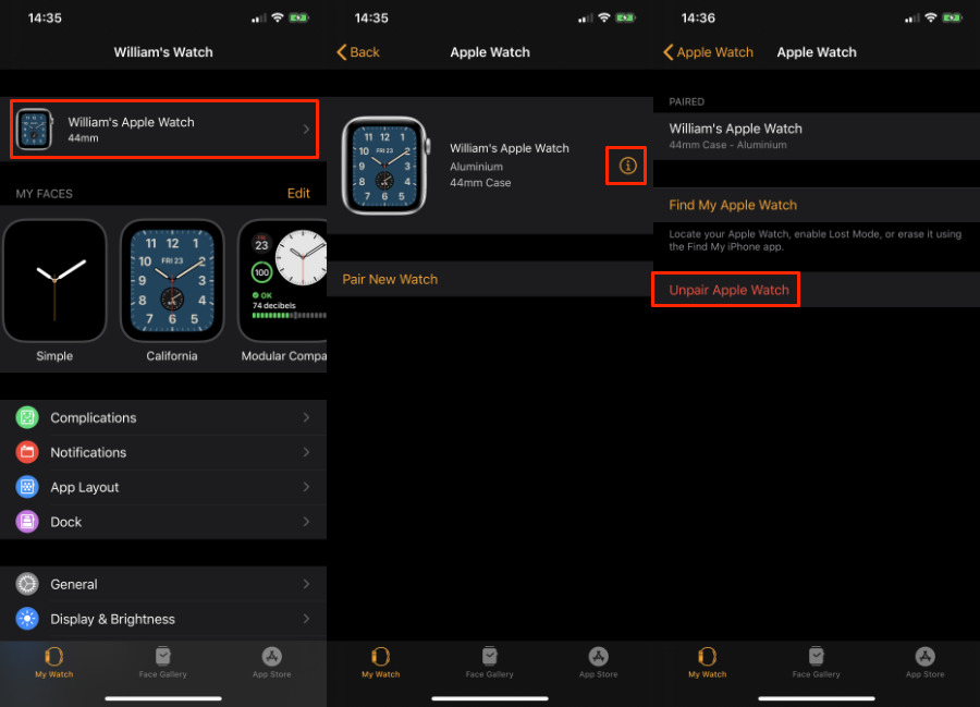 Three steps to unpairing your Apple Watch. This will force a backup first.