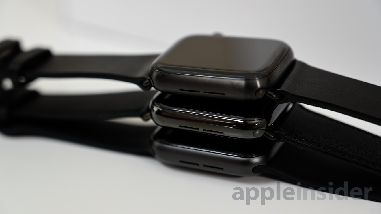 Titanium Apple Watch (top) with the aluminum (center) and stainless steel (bottom)