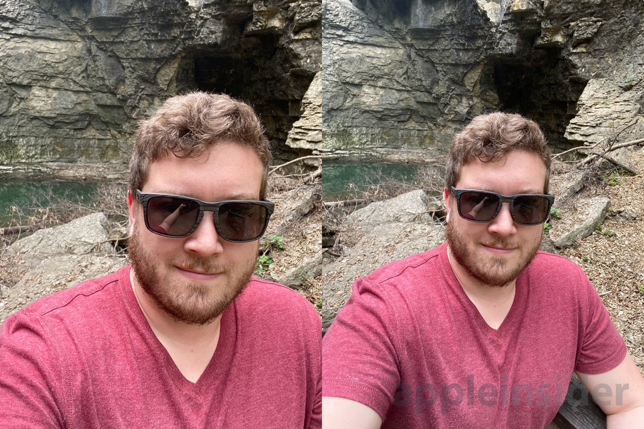 The standard wide selfie compared to the new ultra wide selfie
