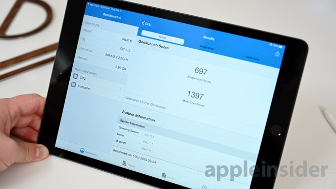 The 7th-gen iPad gets a 697 and 1397 in the Geekbench 5 test