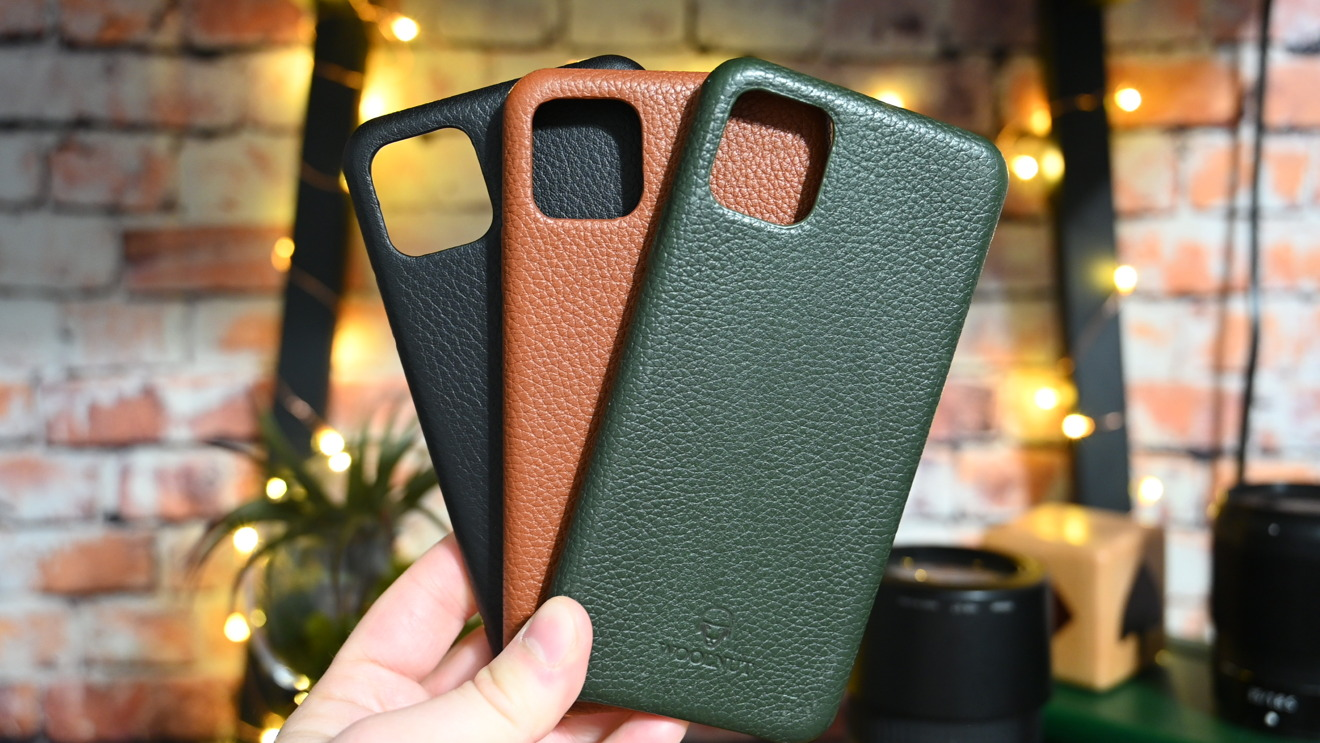 Tan, green, and black colors of the Woolnut iPhone cases