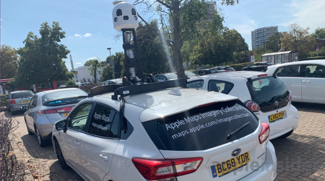 An Apple Maps car photographed in England in summer 2019