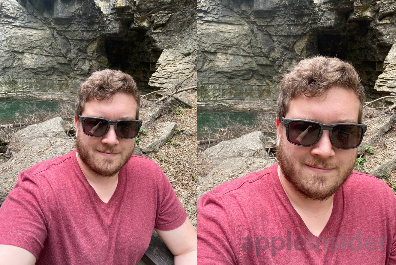 Ultra-wide versus wide angle selfies on iPhone 11