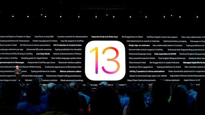 Craig Federighi announcing iOS 13 at the 2019 WWDC