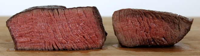 Two same-size steaks cooked sous-vide (left) versus grilled (right)