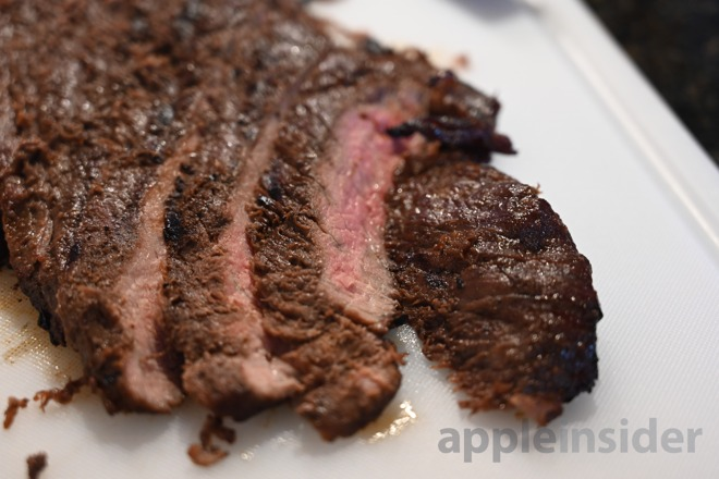 Flank steak after cooking via sous-vide