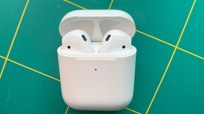 Apple's current AirPods in their charging case