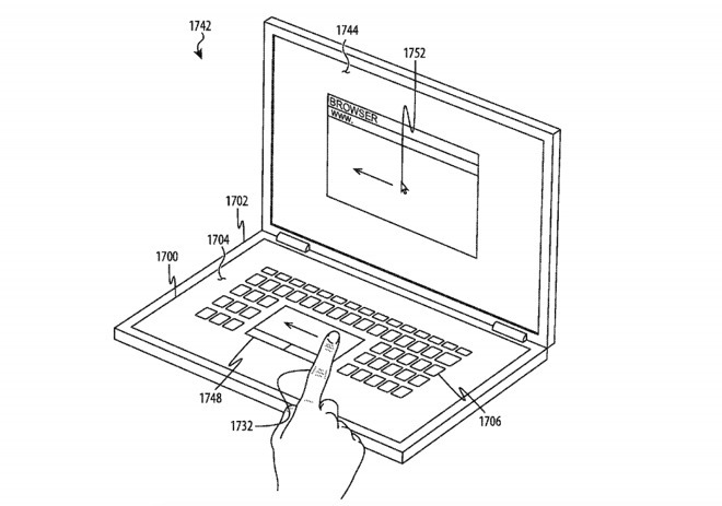 Apple patent illustration for a two-screen MacBook or MacBook Pro
