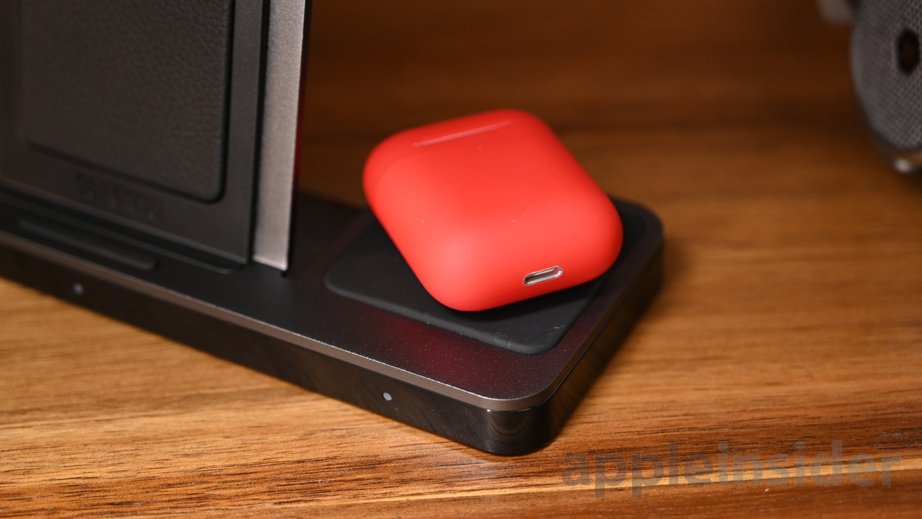 X-Doria Defense Dual Wireless Charger charge our ColorWare red AirPods gen 2