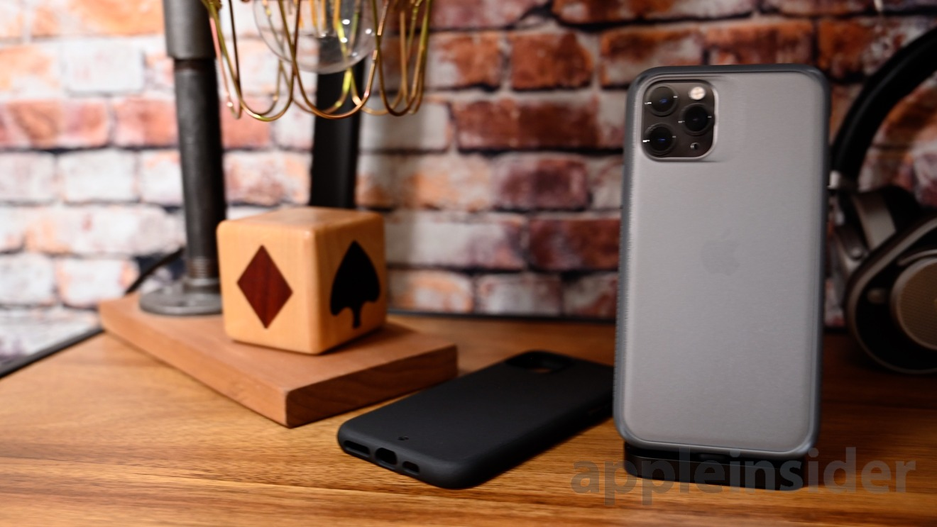 Caudabe Sheath (laying down) and Synthesis (standing up) cases for iPhone 11 Pro