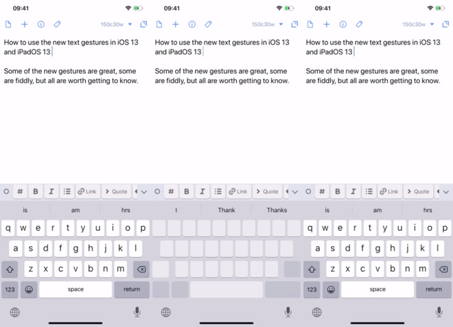 Press and hold on the spacebar to get the trackpad-like display (center) and move your cursor around
