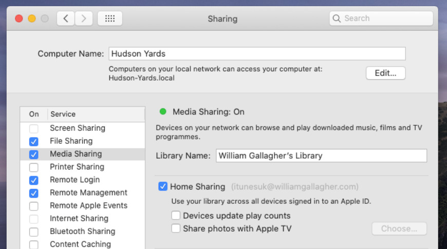How to turn on Home Sharing in the Music and TV apps in macOS Catalina