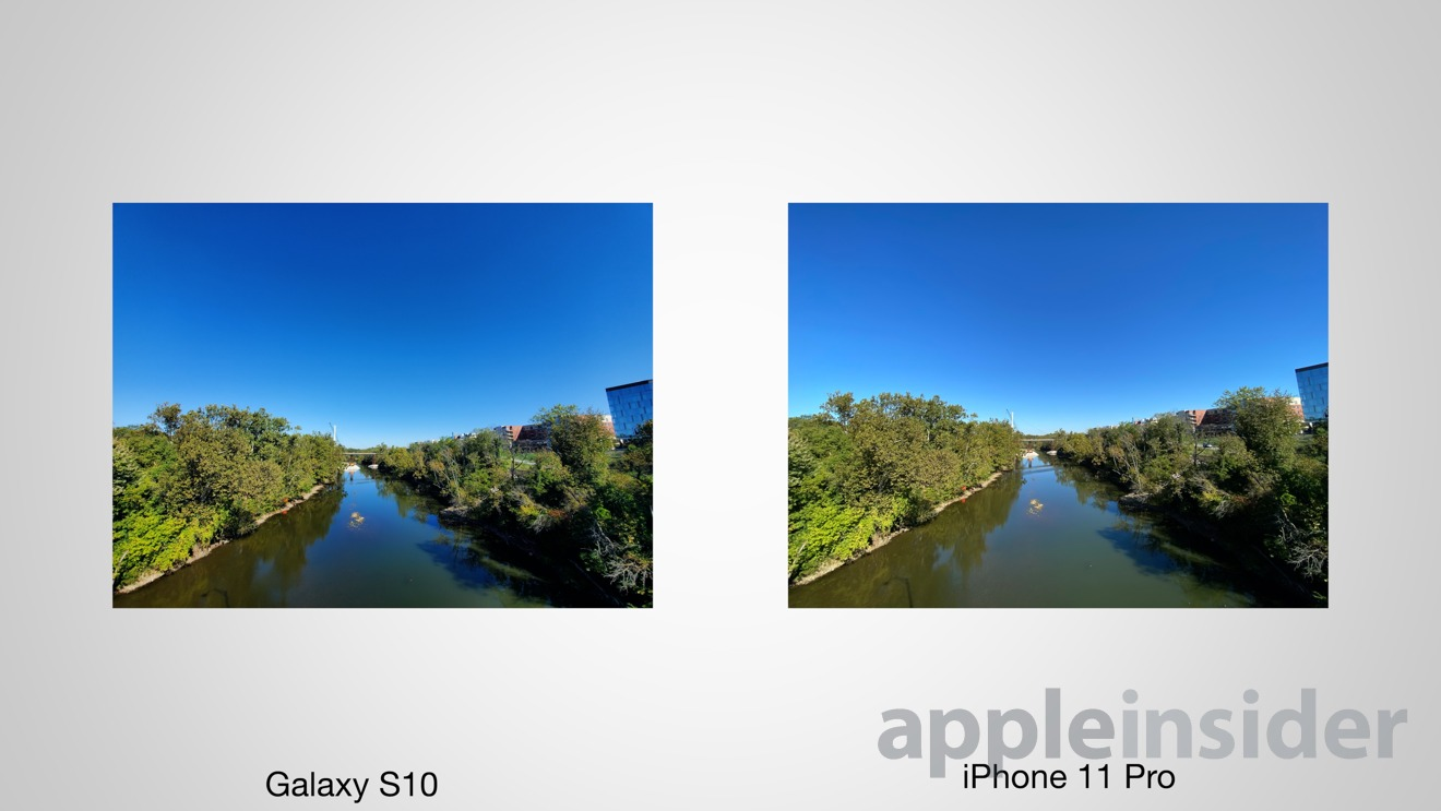 Ultra-wide image captured on the Samsung Galaxy S10+ (left) and iPhone 11 Pro Max (right)