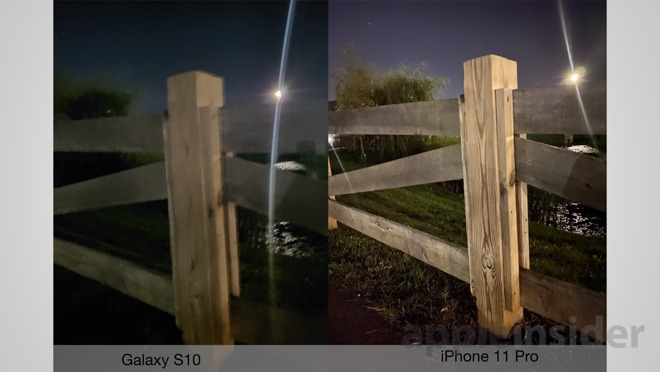 Night mode on iPhone 11 Pro (right) and Galaxy S10 (left)