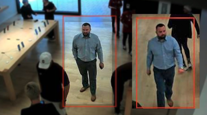 Police-issued security camera footage of a man alleged to have stolen from three Apple Stores. (Source: The Denver Channel)