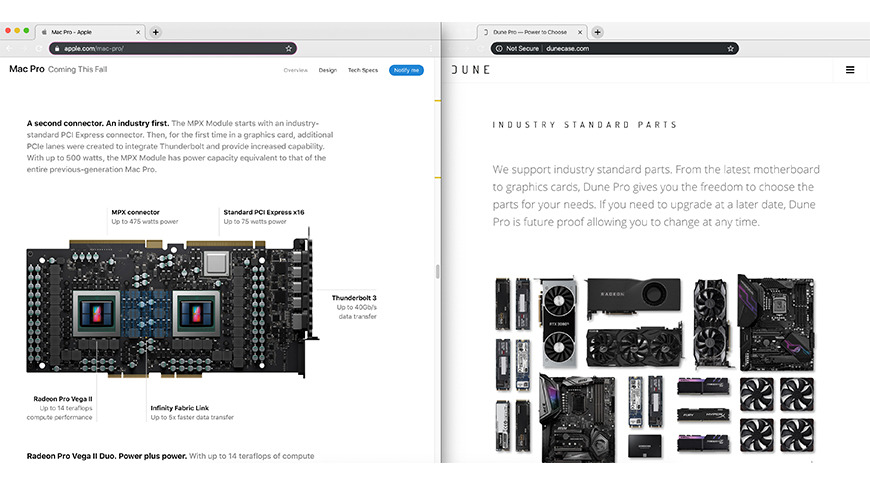Left: Apple's Mac Pro page, Right: DuneCase.com