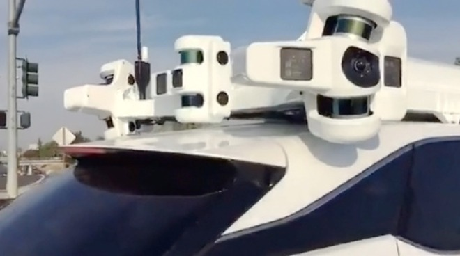 A sensor array on top of an Apple self-driving car