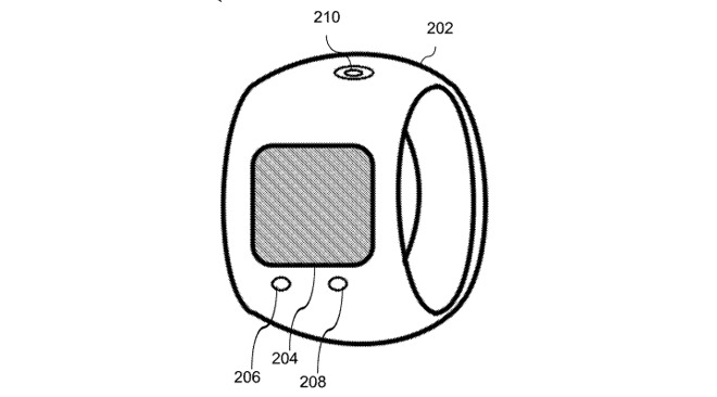 A simplified example of an Apple ring with display, buttons, and haptic feedback points