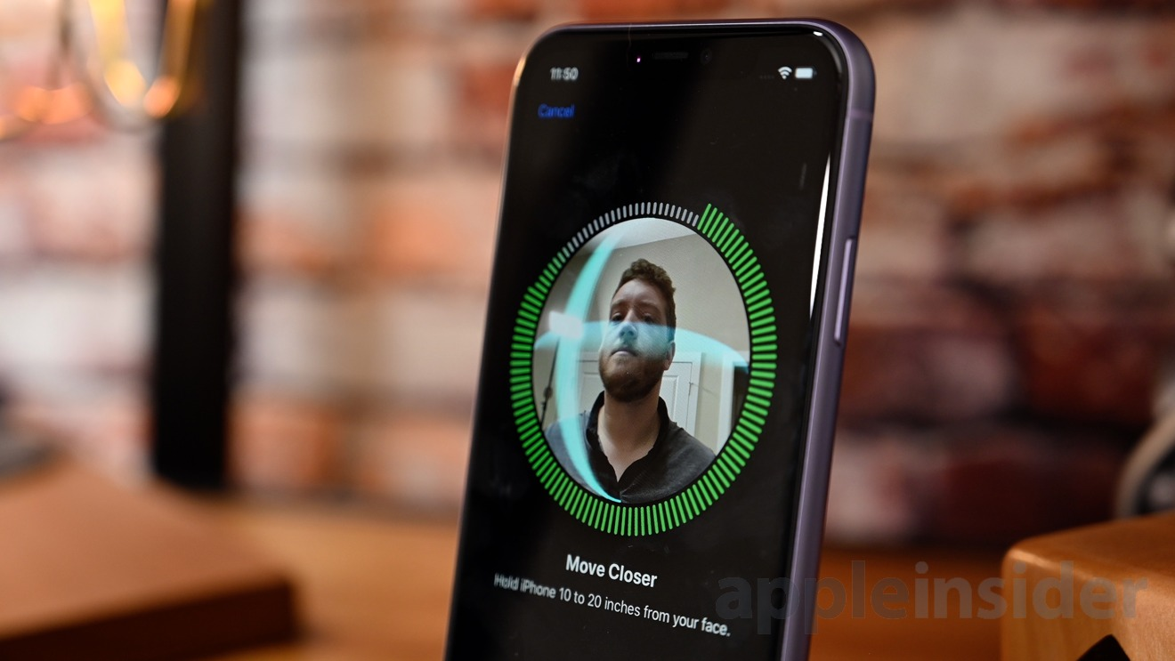 Face ID registration on iPhone 11